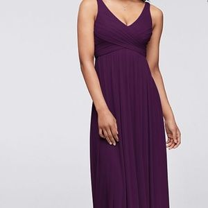 Long Mesh Dress with Cowl Back Detail - PLUM